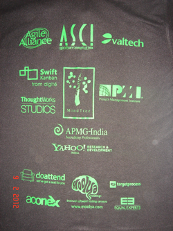 Agile India 2012 Conference TShirt Back Print Green option