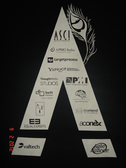 Agile India 2012 Conference TShirt Back Print Letter A option